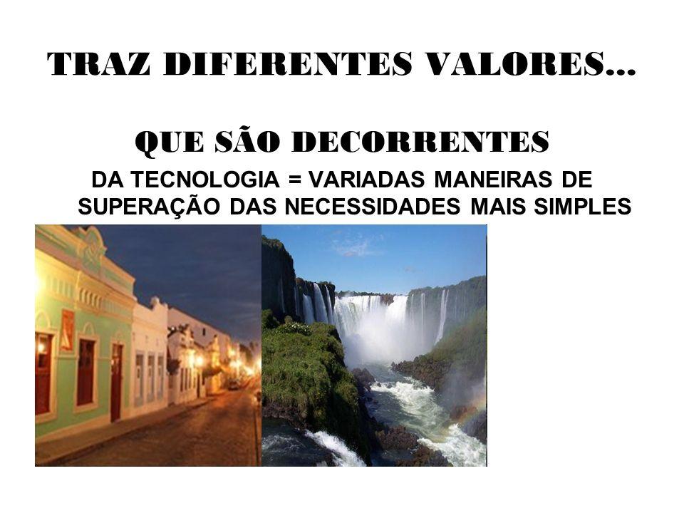 TRAZ DIFERENTES VALORES... QUE SÃO DECORRENTES DA TECNOLOGIA = VARIADAS MANEIRAS DE SUPERAÇÃO DAS NECESSIDADES MAIS SIMPLES