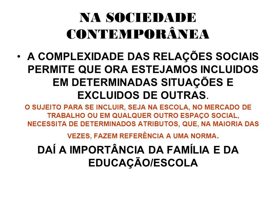 NA SOCIEDADE CONTEMPORÂNEA A COMPLEXIDADE DAS RELAÇÕES SOCIAIS PERMITE QUE ORA ESTEJAMOS INCLUIDOS EM DETERMINADAS SITUAÇÕES E EXCLUIDOS DE OUTRAS.