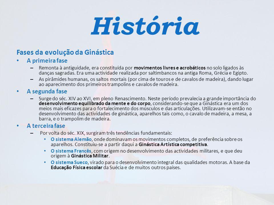 História Fases da evolução da Ginástica A primeira fase – Remonta à antiguidade, era constituída por movimentos livres e acrobáticos no solo ligados à