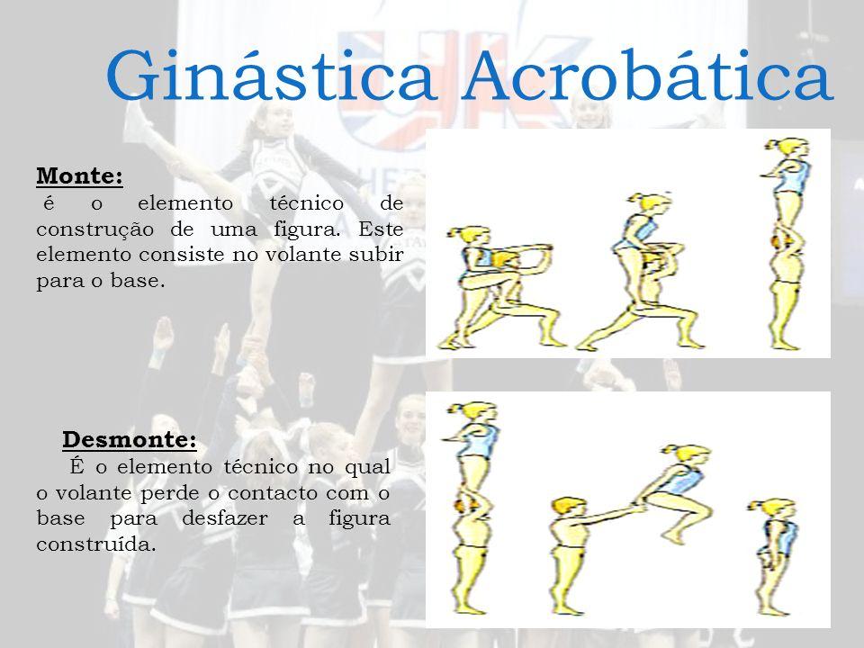Ginástica Acrobática Monte: é o elemento técnico de construção de uma figura. Este elemento consiste no volante subir para o base. Desmonte: É o eleme