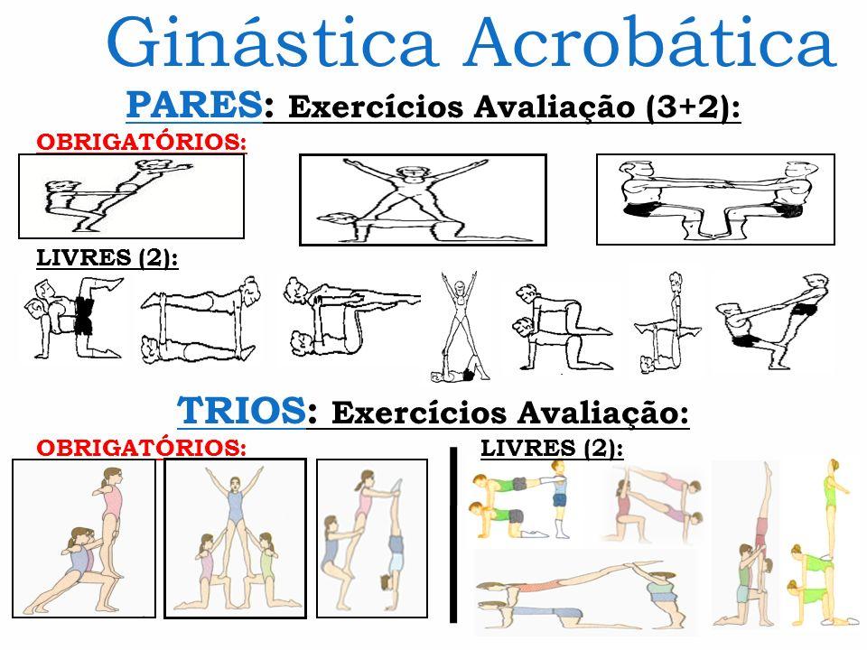 Ginástica Acrobática PARES: Exercícios Avaliação (3+2): OBRIGATÓRIOS: LIVRES (2): TRIOS: Exercícios Avaliação: OBRIGATÓRIOS: LIVRES (2):