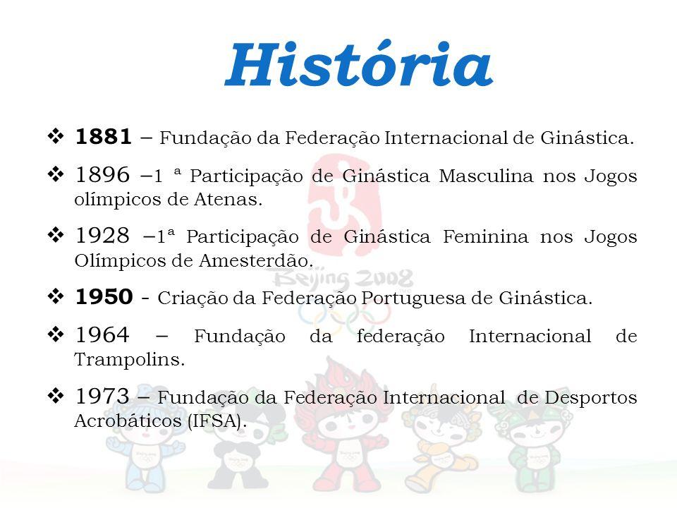 História 1881 – Fundação da Federação Internacional de Ginástica. 1896 – 1 ª Participação de Ginástica Masculina nos Jogos olímpicos de Atenas. 1928 –