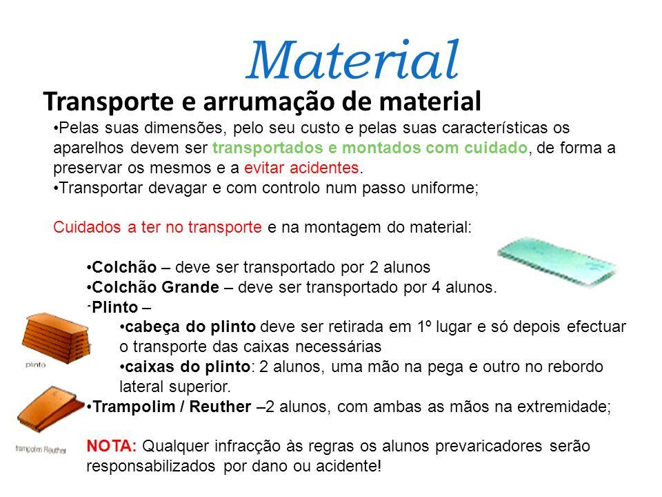 Transporte e arrumação de material Pelas suas dimensões, pelo seu custo e pelas suas características os aparelhos devem ser transportados e montados c