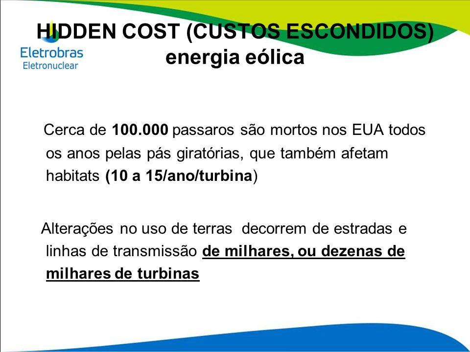 HIDDEN COST (CUSTOS ESCONDIDOS) energia eólica Cerca de 100.000 passaros são mortos nos EUA todos os anos pelas pás giratórias, que também afetam habi