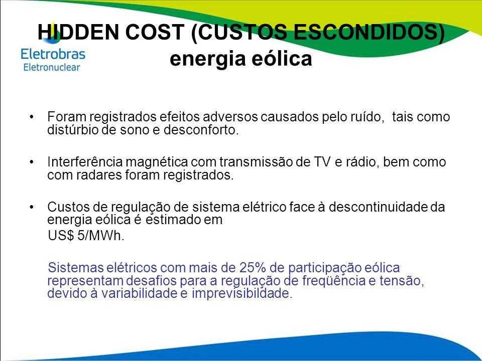 HIDDEN COST (CUSTOS ESCONDIDOS) energia eólica Foram registrados efeitos adversos causados pelo ruído, tais como distúrbio de sono e desconforto. Inte