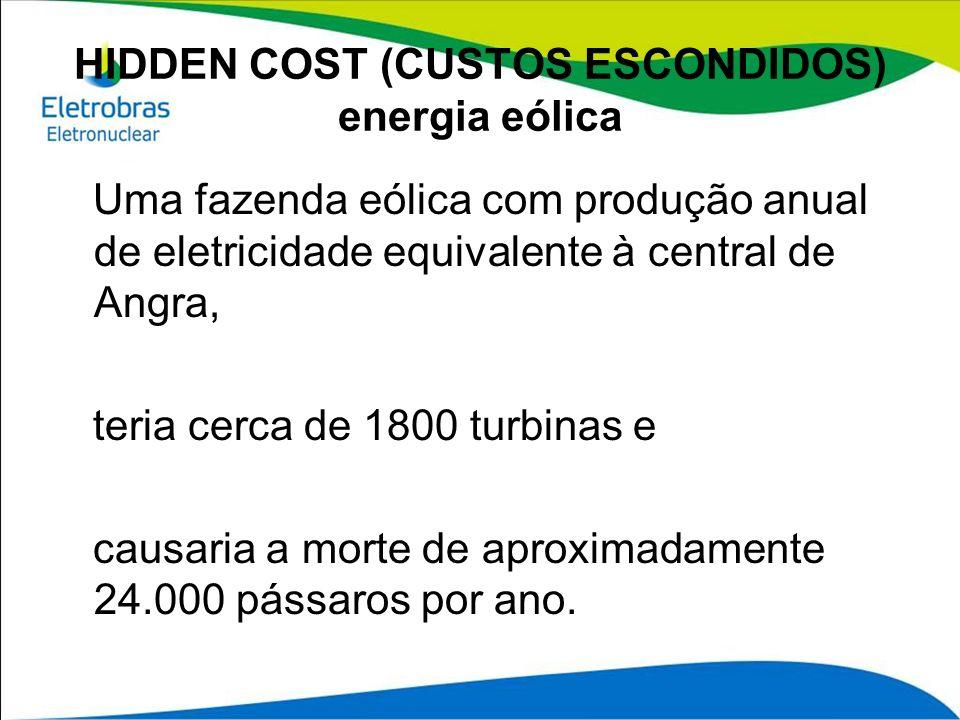 HIDDEN COST (CUSTOS ESCONDIDOS) energia eólica Uma fazenda eólica com produção anual de eletricidade equivalente à central de Angra, teria cerca de 18