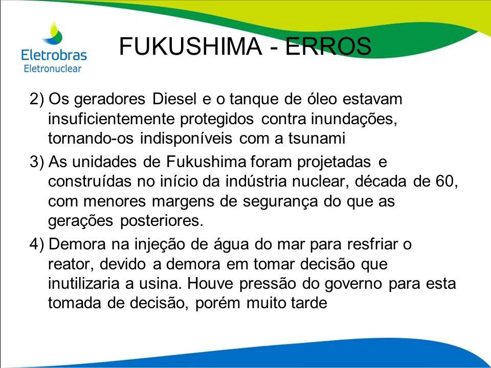 2) Os geradores Diesel e o tanque de óleo estavam insuficientemente protegidos contra inundações, tornando-os indisponíveis com a tsunami 3) As unidad