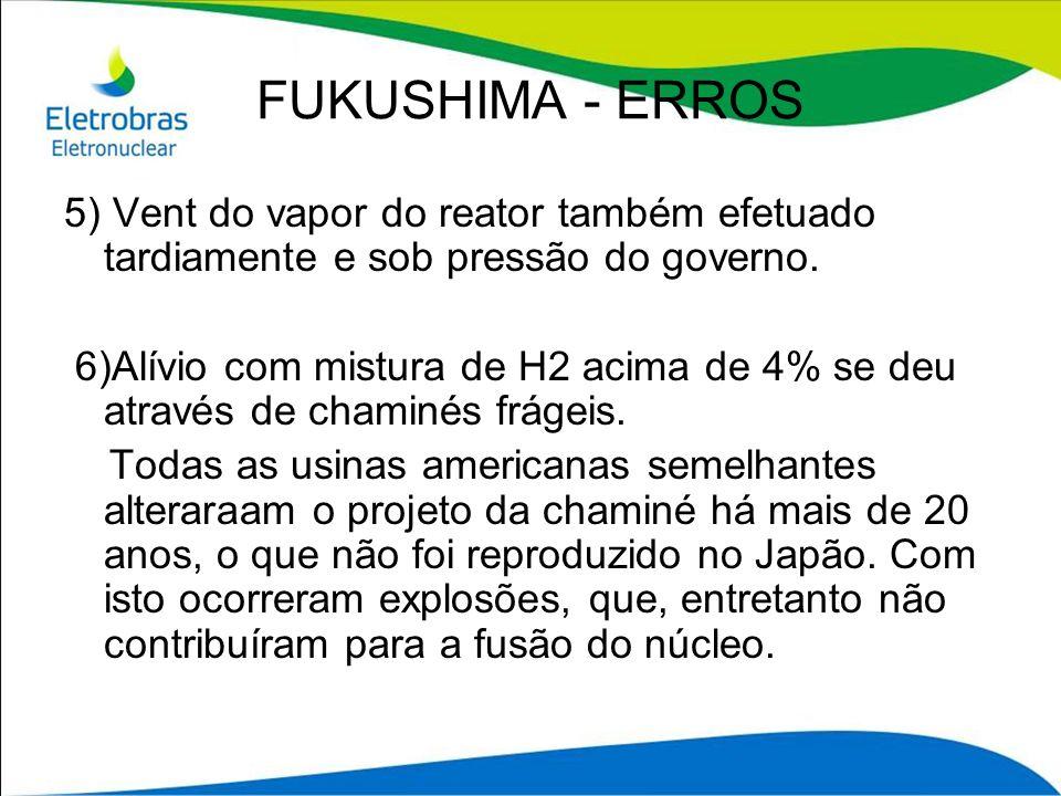 FUKUSHIMA - ERROS 5) Vent do vapor do reator também efetuado tardiamente e sob pressão do governo. 6)Alívio com mistura de H2 acima de 4% se deu atrav