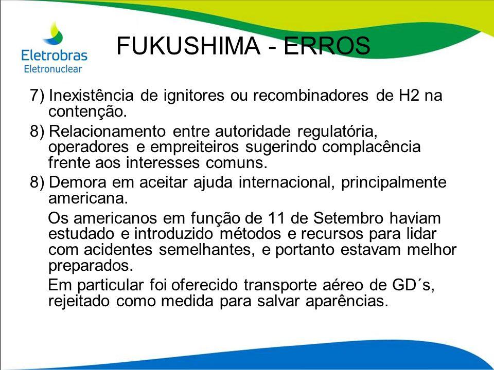 FUKUSHIMA - ERROS 7) Inexistência de ignitores ou recombinadores de H2 na contenção. 8) Relacionamento entre autoridade regulatória, operadores e empr