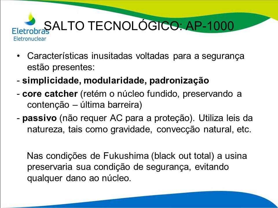 SALTO TECNOLÓGICO: AP-1000 Características inusitadas voltadas para a segurança estão presentes: - simplicidade, modularidade, padronização - core cat