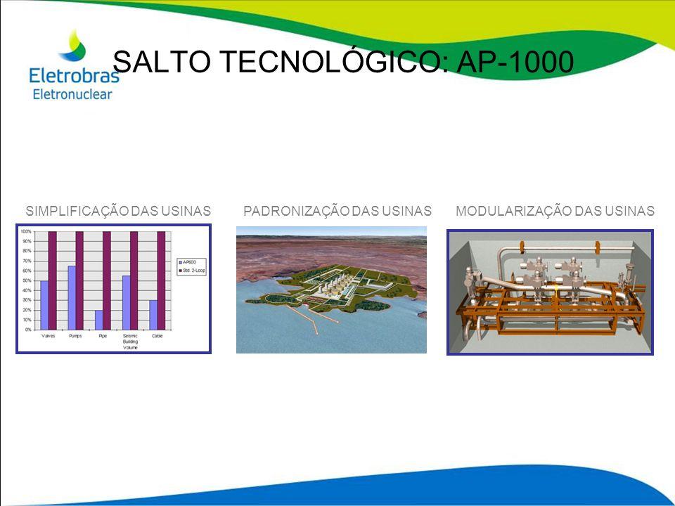 SALTO TECNOLÓGICO: AP-1000 SIMPLIFICAÇÃO DAS USINASMODULARIZAÇÃO DAS USINASPADRONIZAÇÃO DAS USINAS