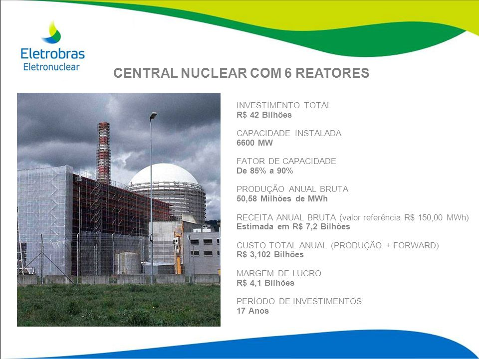 INVESTIMENTO TOTAL R$ 42 Bilhões CAPACIDADE INSTALADA 6600 MW FATOR DE CAPACIDADE De 85% a 90% PRODUÇÃO ANUAL BRUTA 50,58 Milhões de MWh RECEITA ANUAL