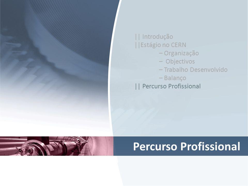 Percurso Profissional || Introdução ||Estágio no CERN – Organização – Objectivos – Trabalho Desenvolvido – Balanço || Percurso Profissional