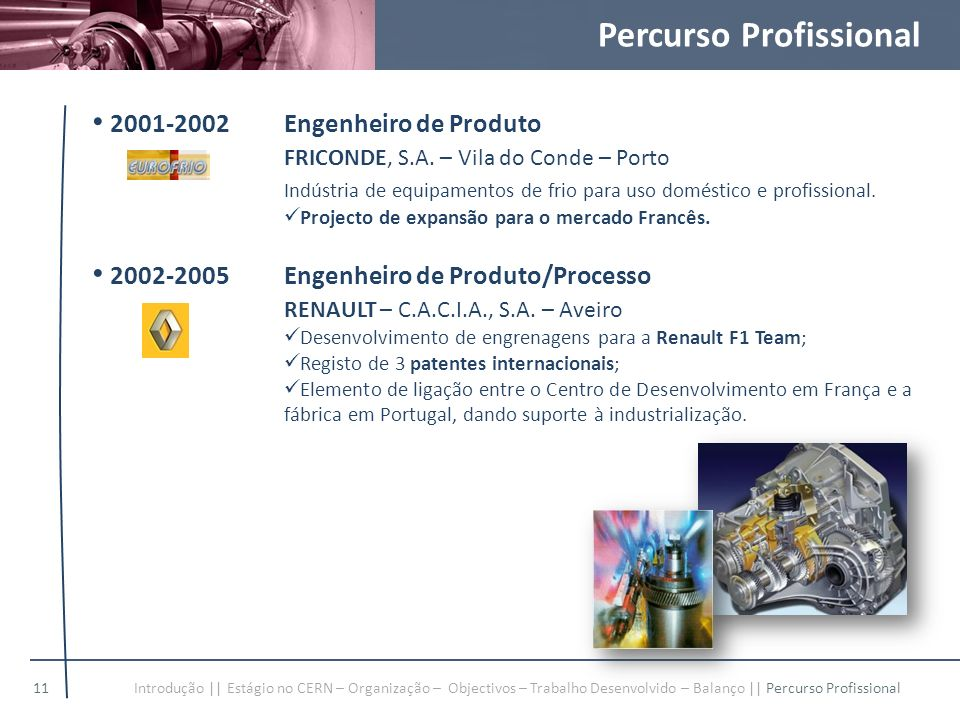 Percurso Profissional 2001-2002Engenheiro de Produto FRICONDE, S.A. – Vila do Conde – Porto Indústria de equipamentos de frio para uso doméstico e pro