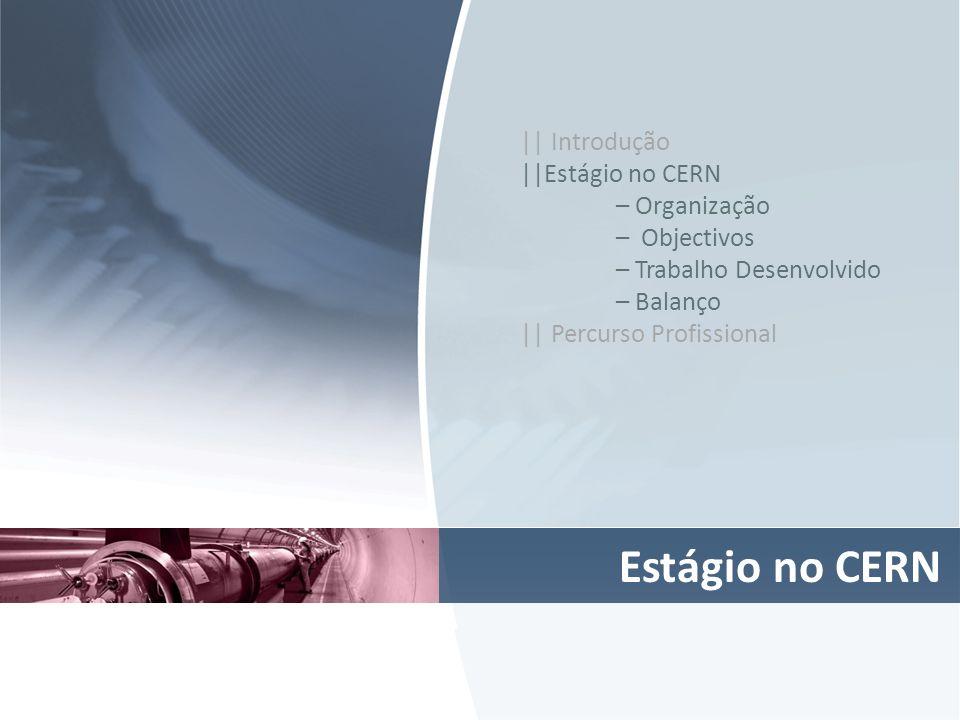 Estágio no CERN || Introdução ||Estágio no CERN – Organização – Objectivos – Trabalho Desenvolvido – Balanço || Percurso Profissional