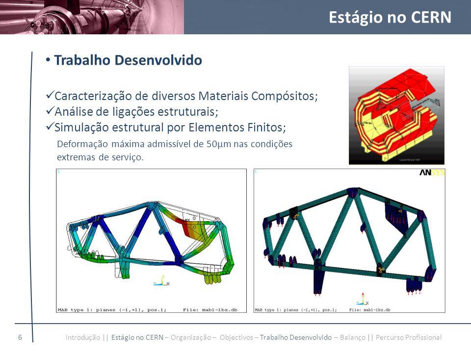 Estágio no CERN Trabalho Desenvolvido Caracterização de diversos Materiais Compósitos; Análise de ligações estruturais; Simulação estrutural por Eleme