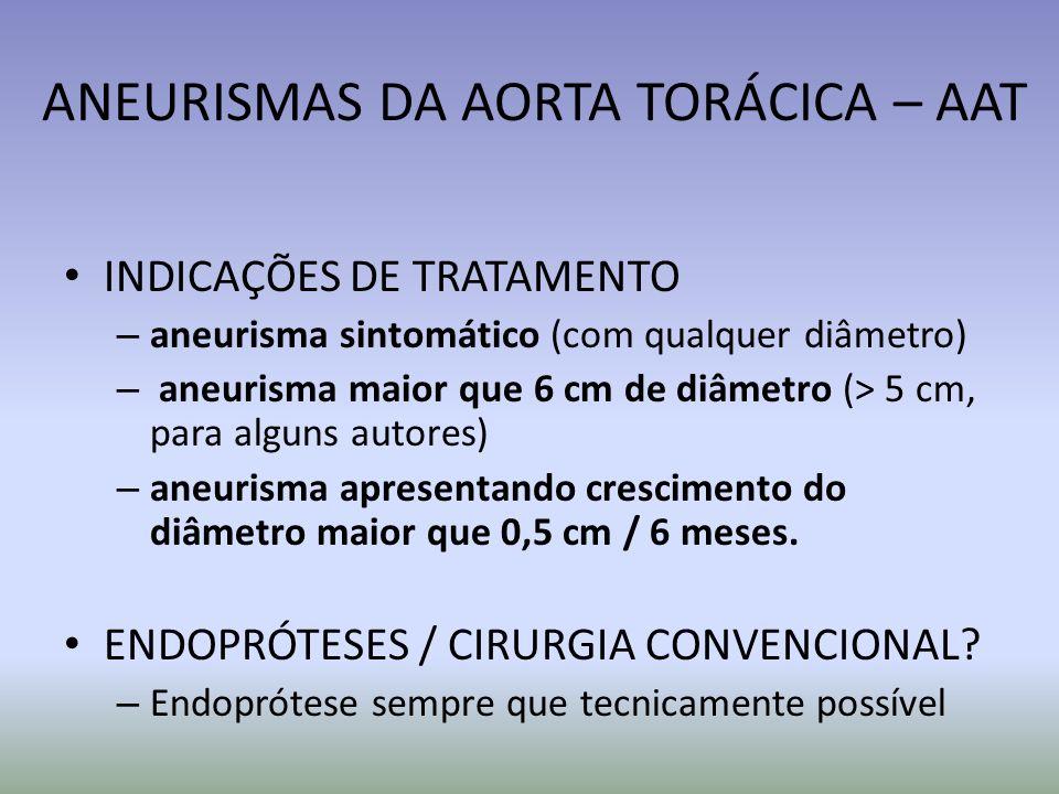 ANEURISMAS DA AORTA TORÁCICA – AAT INDICAÇÕES DE TRATAMENTO – aneurisma sintomático (com qualquer diâmetro) – aneurisma maior que 6 cm de diâmetro (>