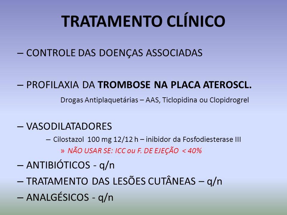 TRATAMENTO CLÍNICO – CONTROLE DAS DOENÇAS ASSOCIADAS – PROFILAXIA DA TROMBOSE NA PLACA ATEROSCL. Drogas Antiplaquetárias – AAS, Ticlopidina ou Clopidr