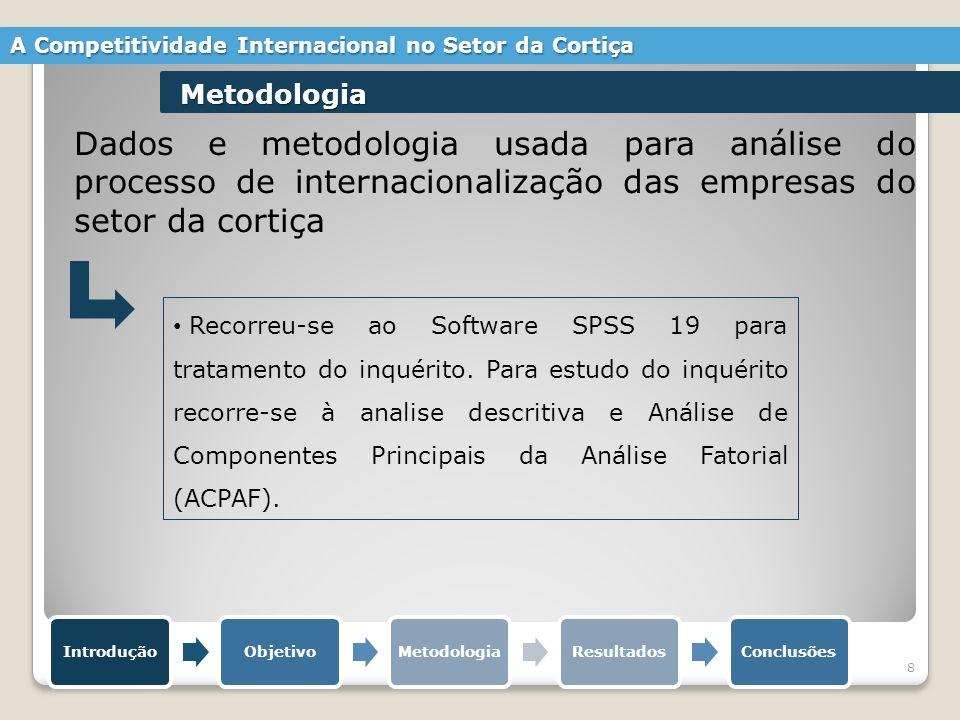 8 Dados e metodologia usada para análise do processo de internacionalização das empresas do setor da cortiça Recorreu-se ao Software SPSS 19 para tratamento do inquérito.