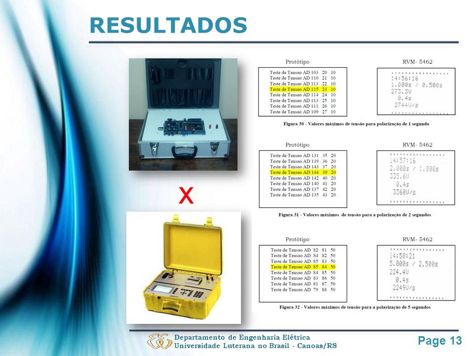 Page 13 RESULTADOS Departamento de Engenharia Elétrica Universidade Luterana no Brasil - Canoas/RS x