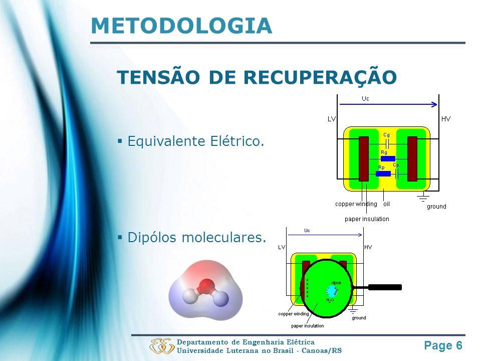 Page 6 METODOLOGIA TENSÃO DE RECUPERAÇÃO Equivalente Elétrico. Dipólos moleculares. Departamento de Engenharia Elétrica Universidade Luterana no Brasi