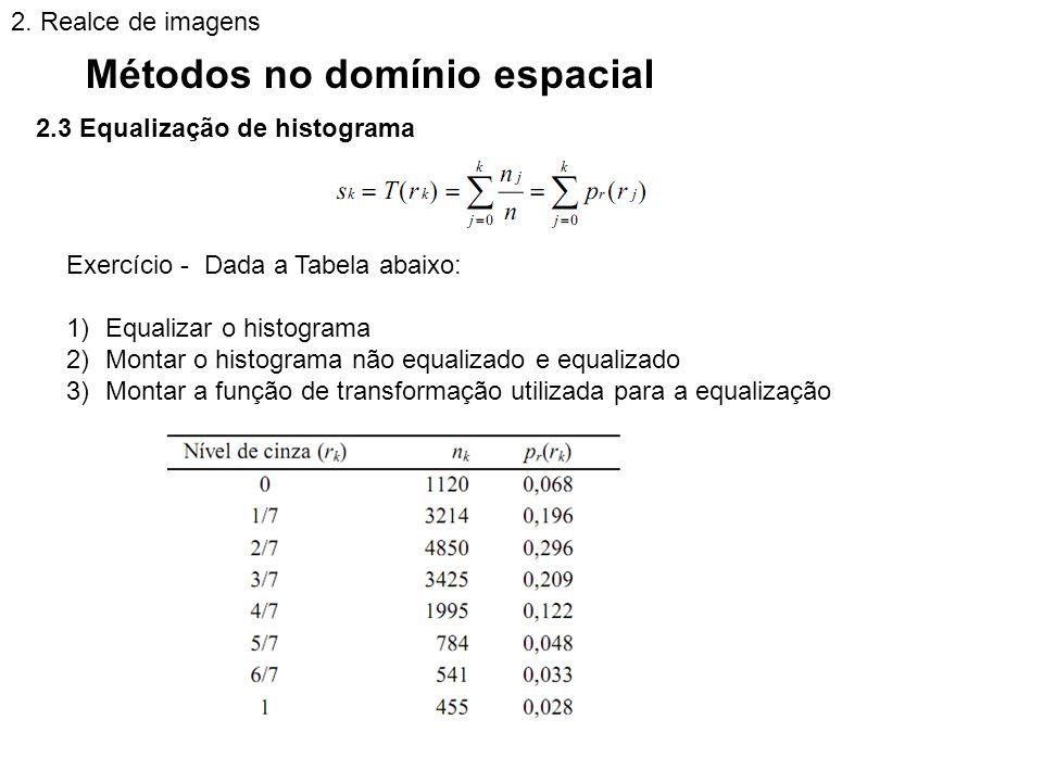 2.3 Equalização de histograma Métodos no domínio espacial 2. Realce de imagens Exercício - Dada a Tabela abaixo: 1)Equalizar o histograma 2)Montar o h