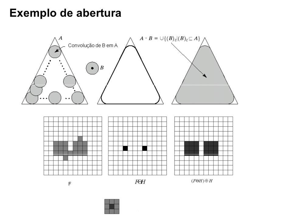 Exemplo de abertura Convolução de B em A