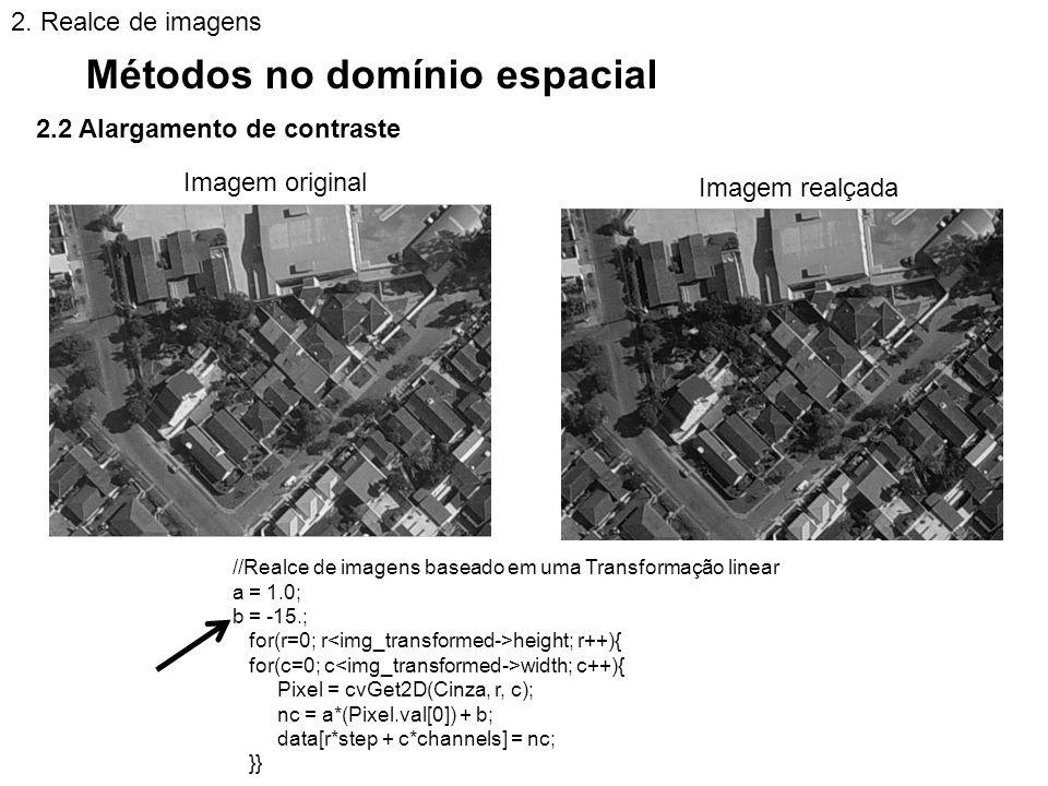 2.2 Alargamento de contraste Métodos no domínio espacial 2. Realce de imagens //Realce de imagens baseado em uma Transformação linear a = 1.0; b = -15