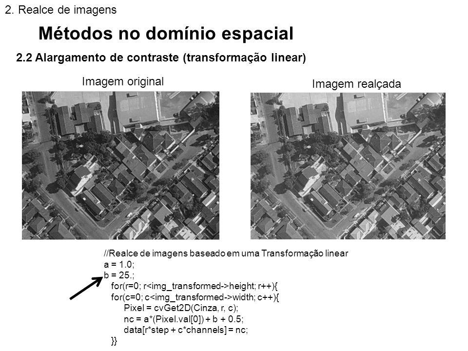 2.2 Alargamento de contraste (transformação linear) Métodos no domínio espacial 2. Realce de imagens //Realce de imagens baseado em uma Transformação