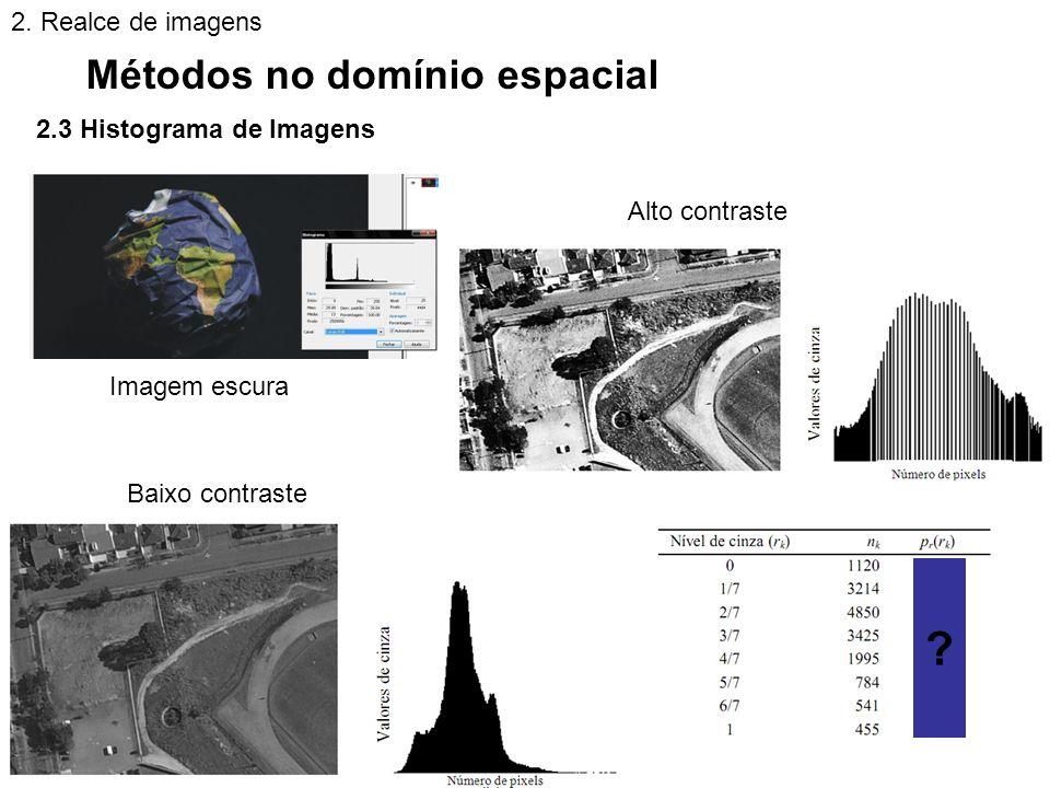 2.3 Histograma de Imagens Métodos no domínio espacial 2. Realce de imagens Imagem escura Alto contraste Baixo contraste ?