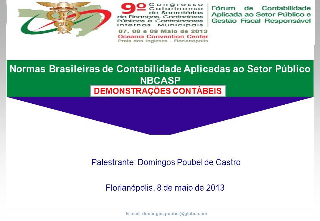 E-mail: domingos.poubel@globo.com Normas Brasileiras de Contabilidade Aplicadas ao Setor Público NBCASP DEMONSTRAÇÕES CONTÁBEIS Palestrante: Domingos