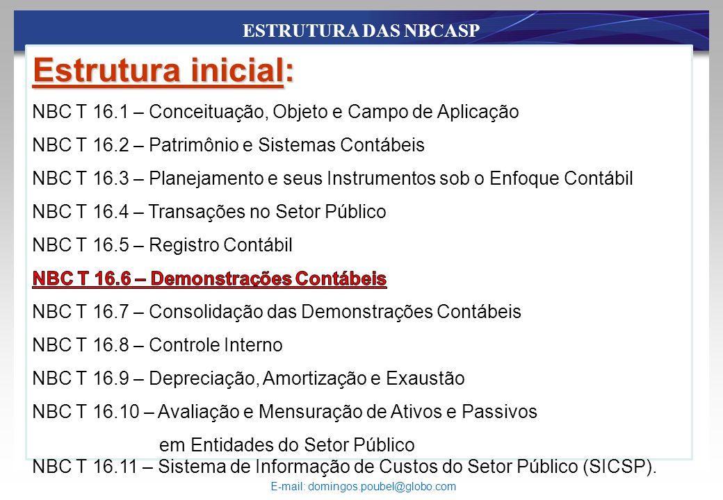 ESTRUTURA DAS NBCASP NBC T 16.11 – Sistema de Informação de Custos do Setor Público (SICSP). E-mail: domingos.poubel@globo.com