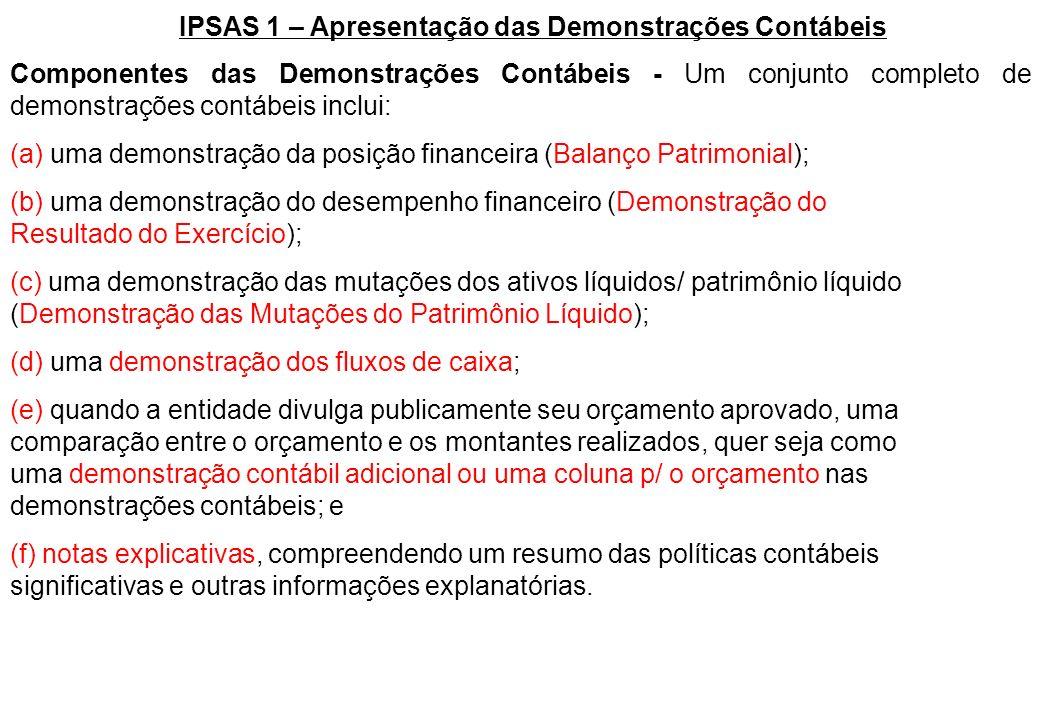 Componentes das Demonstrações Contábeis - Um conjunto completo de demonstrações contábeis inclui: (a) uma demonstração da posição financeira (Balanço