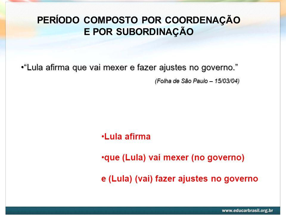 Lula afirma que vai mexer e fazer ajustes no governo.Lula afirma que vai mexer e fazer ajustes no governo. (Folha de São Paulo – 15/03/04) (Folha de S