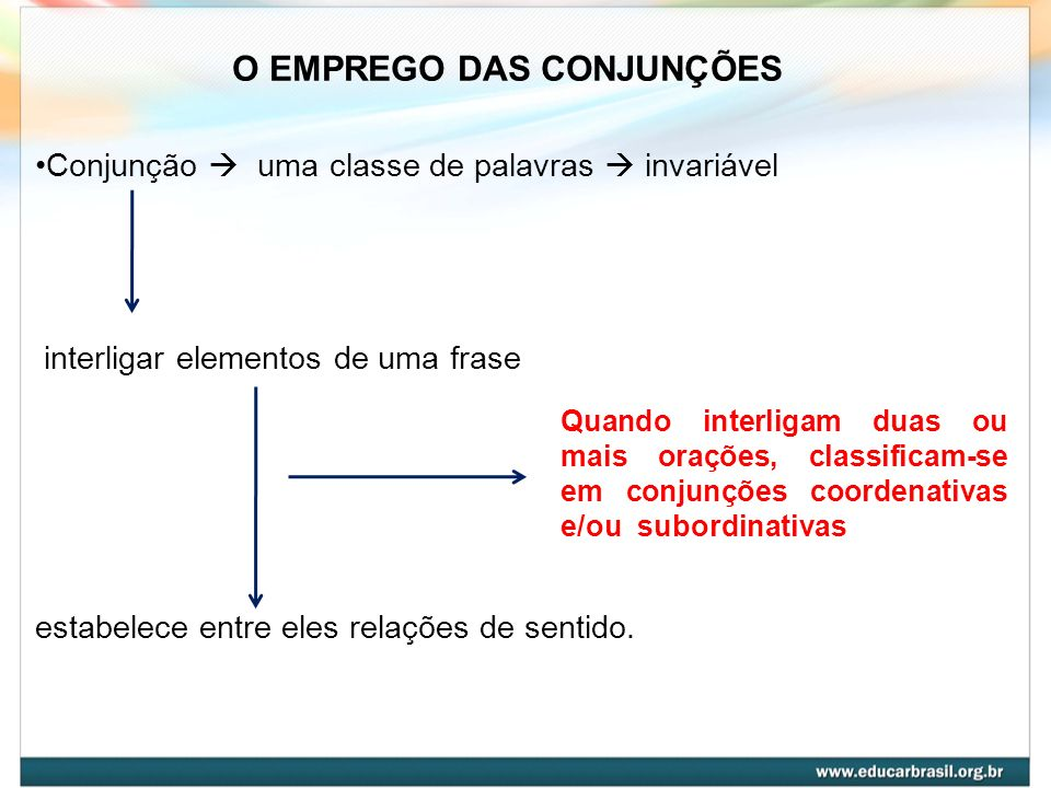 O EMPREGO DAS CONJUNÇÕES Conjunção uma classe de palavras invariável interligar elementos de uma frase estabelece entre eles relações de sentido. Quan