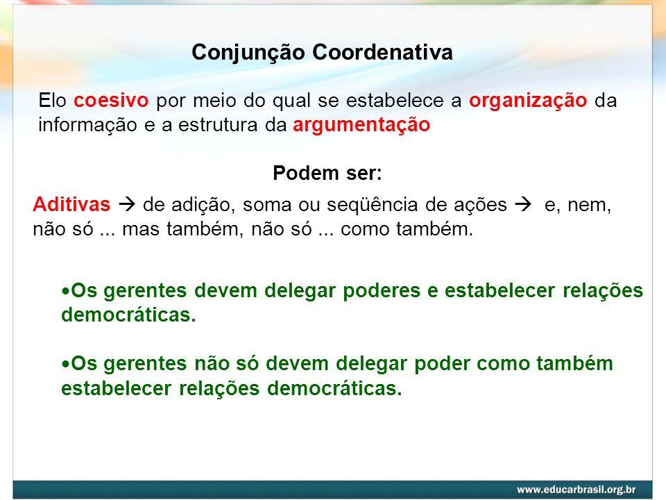 Conjunção Coordenativa Elo coesivo por meio do qual se estabelece a organização da informação e a estrutura da argumentação Podem ser: Aditivas de adi