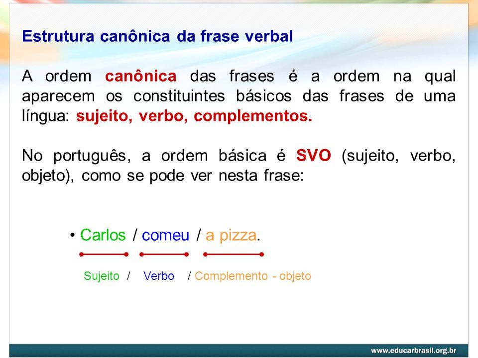 Estrutura canônica da frase verbal A ordem canônica das frases é a ordem na qual aparecem os constituintes básicos das frases de uma língua: sujeito,