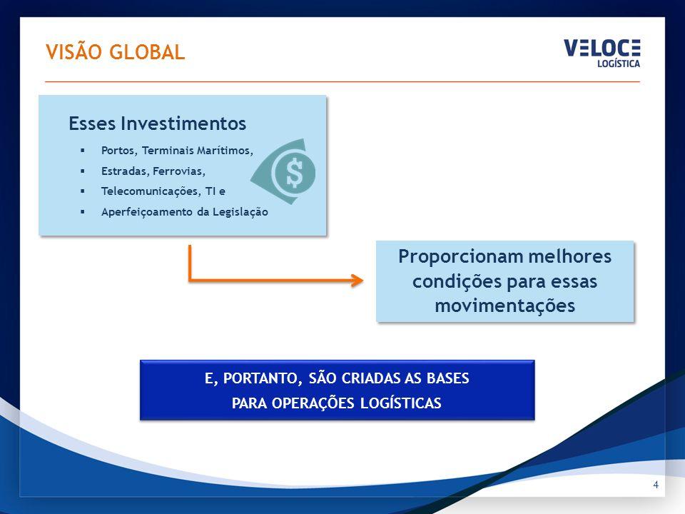 VISÃO GLOBAL 4 Esses Investimentos Portos, Terminais Marítimos, Estradas, Ferrovias, Telecomunicações, TI e Aperfeiçoamento da Legislação Esses Invest
