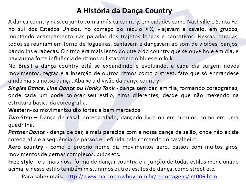 A História da Dança Country A dança country nasceu junto com a música country, em cidades como Nashville e Santa Fé, no sul dos Estados Unidos, no começo do século XIX, viajavam a cavalo, em grupos, montando acampamento nas paradas dos trajetos longos e cansativos.
