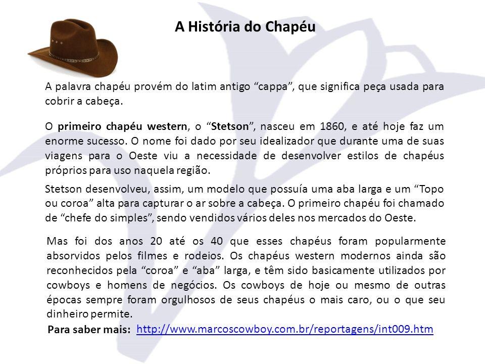 A História do Chapéu A palavra chapéu provém do latim antigo cappa, que significa peça usada para cobrir a cabeça.