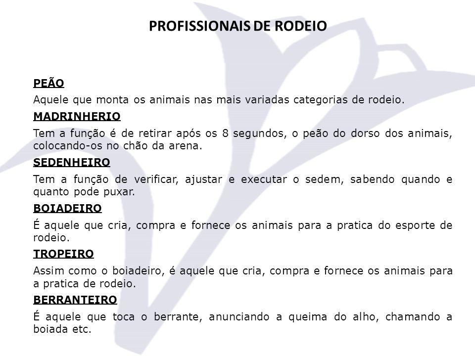 PROFISSIONAIS DE RODEIO PEÃO Aquele que monta os animais nas mais variadas categorias de rodeio.