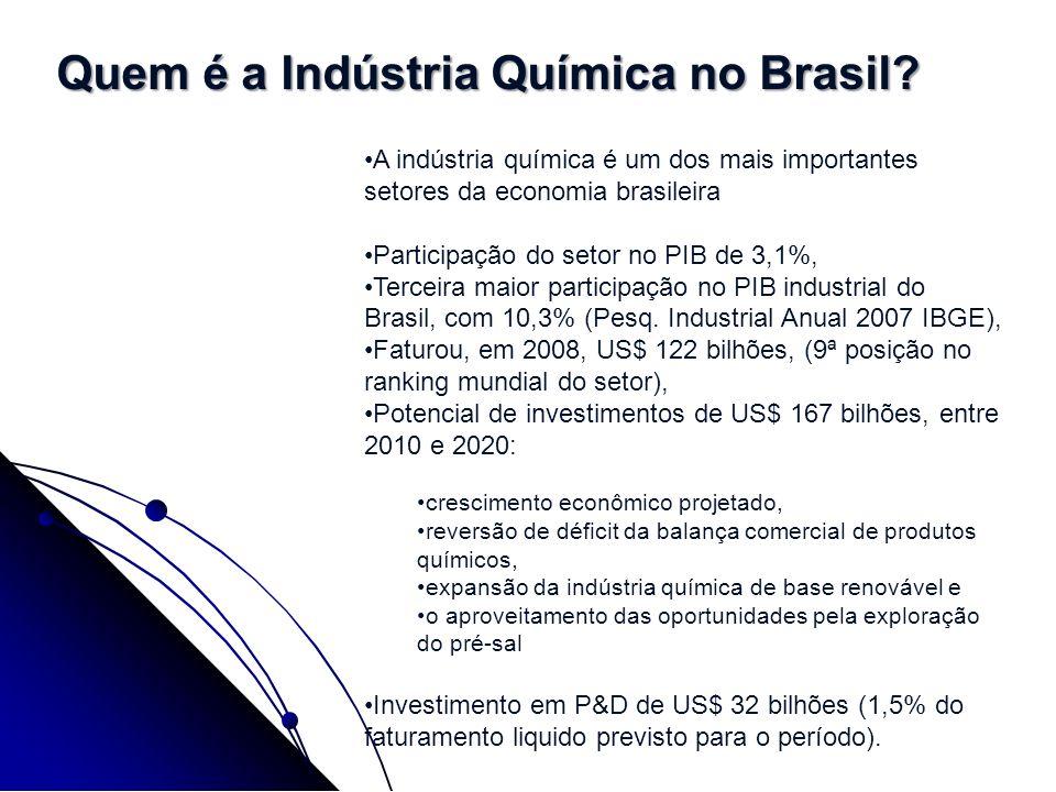 A indústria química é um dos mais importantes setores da economia brasileira Participação do setor no PIB de 3,1%, Terceira maior participação no PIB
