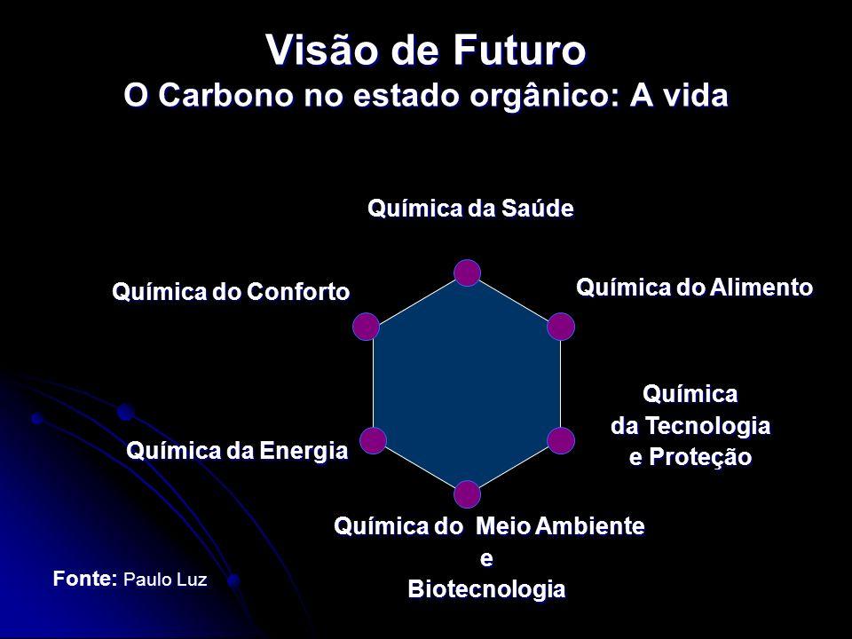 Visão de Futuro O Carbono no estado orgânico: A vida Química da Saúde Química da Saúde Química do Alimento Química da Tecnologia e Proteção Química da