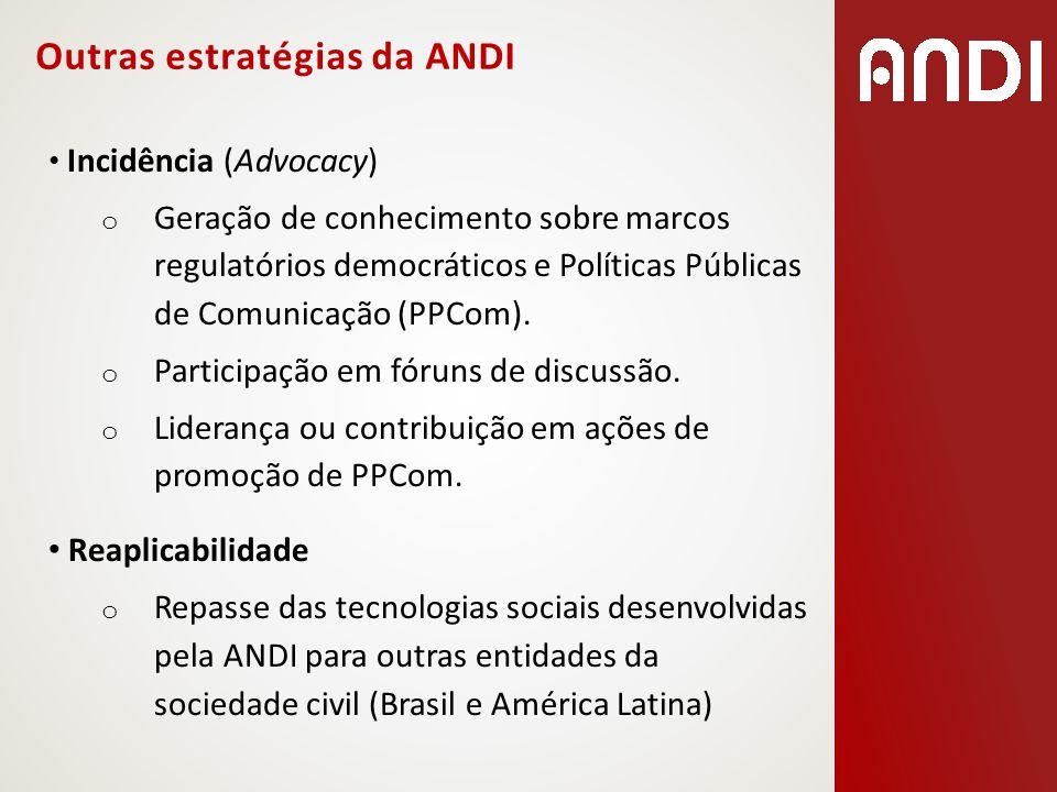 Incidência (Advocacy) o Geração de conhecimento sobre marcos regulatórios democráticos e Políticas Públicas de Comunicação (PPCom). o Participação em