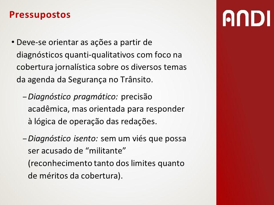 Pressupostos Deve-se orientar as ações a partir de diagnósticos quanti-qualitativos com foco na cobertura jornalística sobre os diversos temas da agen