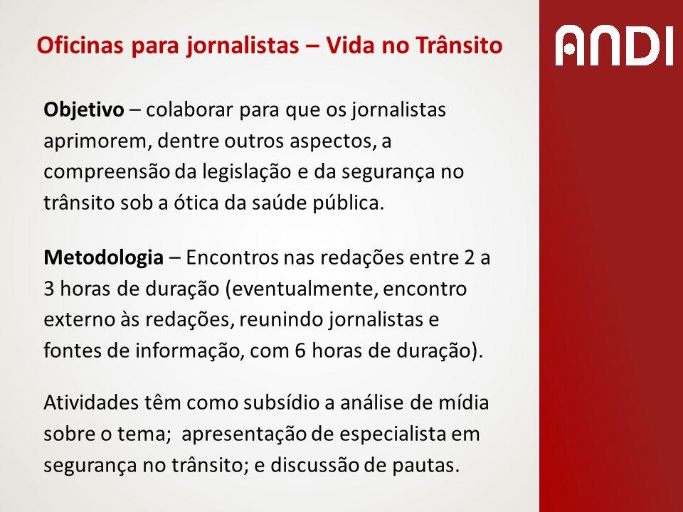 Oficinas para jornalistas – Vida no Trânsito Objetivo – colaborar para que os jornalistas aprimorem, dentre outros aspectos, a compreensão da legislaç
