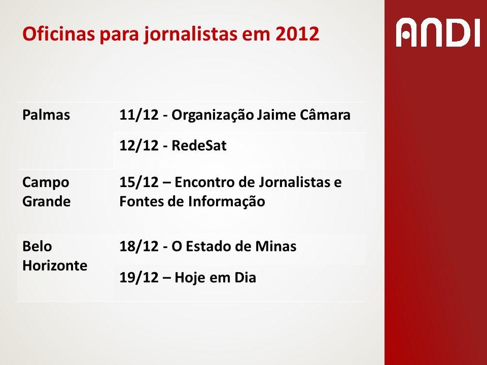 Oficinas para jornalistas em 2012 Palmas11/12 - Organização Jaime Câmara 12/12 - RedeSat Campo Grande 15/12 – Encontro de Jornalistas e Fontes de Info