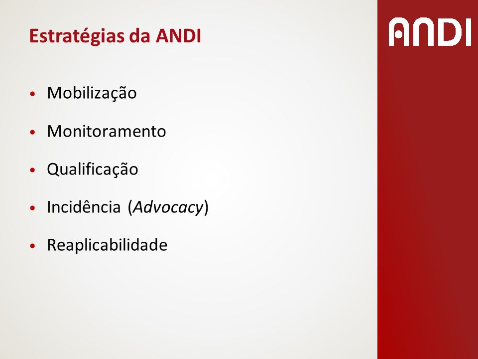 Estratégias da ANDI Mobilização Monitoramento Qualificação Incidência (Advocacy) Reaplicabilidade
