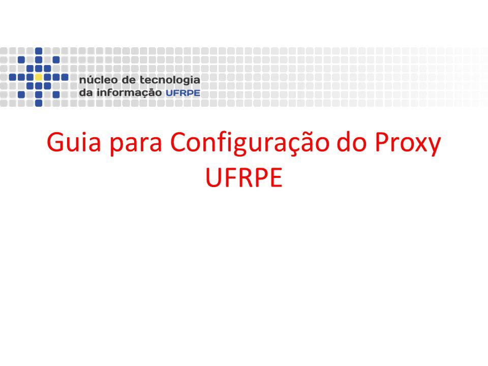 Passos para a Configuração 1.Cadastrar senha de serviços integrados no SIG@UFRPE 2.Configurar Navegador 2.1 Internet Explorer 2.2 FireFox 2.3 Chrome 3.Acessar Proxy UFRPE