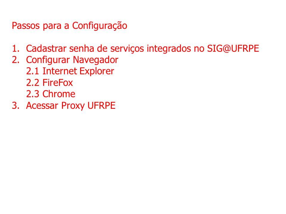Passos para a Configuração 1.Cadastrar senha de serviços integrados no SIG@UFRPE 2.Configurar Navegador 2.1 Internet Explorer 2.2 FireFox 2.3 Chrome 3